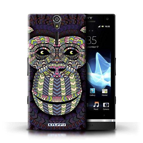 KOBALT® Hülle Case für Sony Xperia S/LT26i | Wolf-Sepia Entwurf | Aztec Tier Muster Kollektion Affe-Farbe