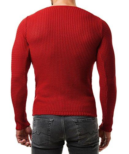 EightyFive Herren Pullover Feinstrick Slim Fit Schwarz Weiß Grau Beige EF1472 Rot