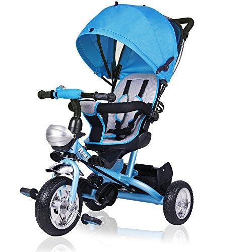 Deuba Tríciclo infantil Azul niños pequeños y mayores carga máxima 30 Kg cesto extraíble barra...