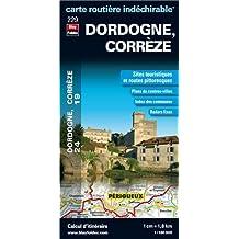 Dordogne (24), Corrèze (19) - Carte départementale, routière et touristique (échelle : 1/180 000)