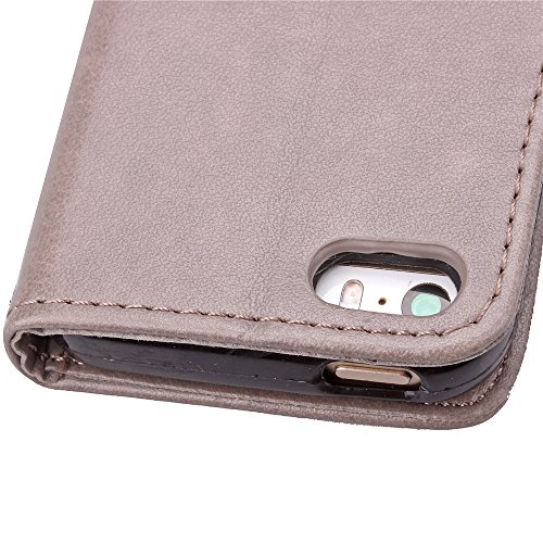 iPhone 55S se étui portefeuille en cuir pour livre, newstars Design léger PU en relief Touch Téléphone Mobile Housses Protège la peau étui en cuir pour iPhone 5/5S/5C/SE avec béquille carte fentes P Clover Gray