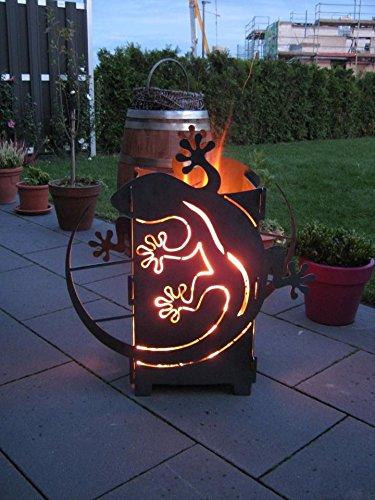 GeckFire Gecko Motiv Feuersäule Rost Feuerstelle Grill 3mm mit Wunschtext
