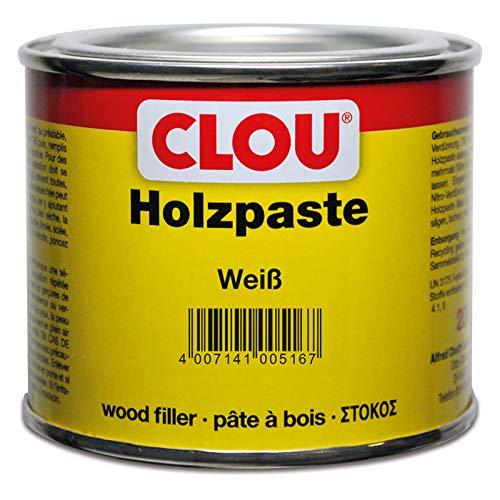 Clou Holzpaste zum Reparieren und Auskitten von Holzschäden weiss, 200 g: Holz Spachtelmasse zum Ausbessern von Löchern, Dellen, Rissen in Möbeln, Türen, Parkett und Laminat - gebrauchsfertig - lösemittelbasiert