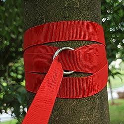 Gearmax® New resistente vendaje de árbol de hamaca correas cinturón sling correa para el cuello correas de sujeción con gancho cuerda(Rojo)
