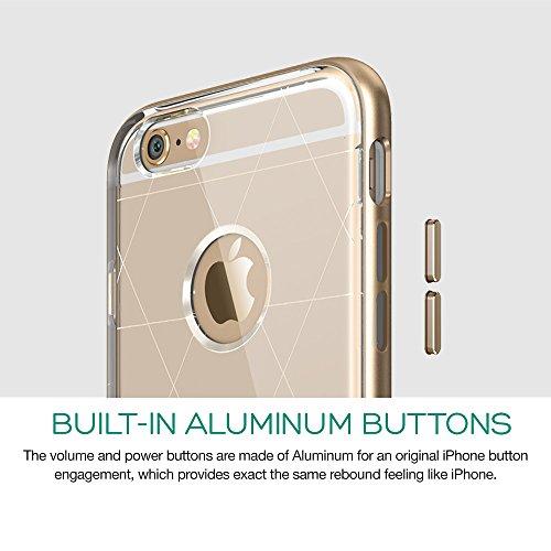iPhone 6 Hülle (4,7 Zoll), ESR® Hybrid Bumper Schutzhülle, Metallrahmen + Weiche Silikon Stoßdämpfung Hülle für iPhone 6 - Hermit Gold [Kostenloses Geschenk: HD Schutzfolie] Maze_Gold