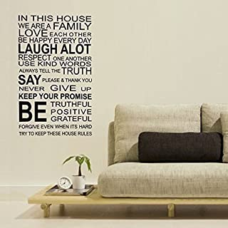Walplus Wall Stickers Family Rules Quote Removable Self-Adhesive Mural Art Decals Vinyl Home Decoration DIY Living Bedroom Office Décor Wallpaper Kids Room Gift, Multi-colour