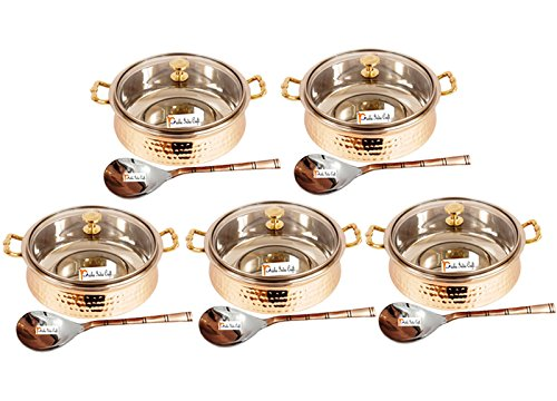 Set of 5 Prisha India Craft ® High Quality Handmade Steel Copper Casserole with Lid and Serving Spoon - Set of Copper Handi and Serving Spoon - Bowl Dia - 5.00