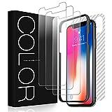 G-Color Verre Trempé iPhone XS / X [3 Front Verre+ 2 Arrière Plastique], Protection écran [sans bulle] [9H dureté], [Anti-rayure] Écran Protecteur applicable à Apple iPhone XS / X