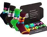 gigando | karo Baumwoll-Socken | bunte Strümpfe für Damen und Herren mit farbenfrohen Karomustern | Hand gekettelt | extra feines Maschenbild | 4 Paar | navy, braun, bordeaux, grün | 35-38 |