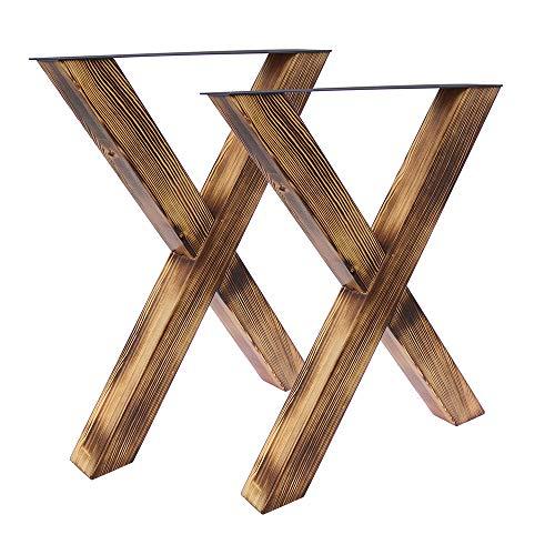 Bentatec 2 Stück - Tischgestell Holz geflammt X - 8080 Tischbein Tischkufen Esstisch -