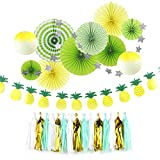 Gelb Ananas Hawaii Kommunion Papier Rosetten Taufe Einschulung Deko Decken-Deko (Grün)