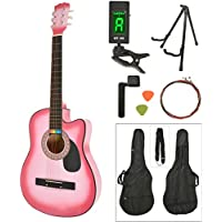 ts-ideen Western - Guitarra acústica, tamaño regular (4/4) con set de accesorios (bolso, cuerdas, afinador, soporte etc.), color rosa pink sunburst
