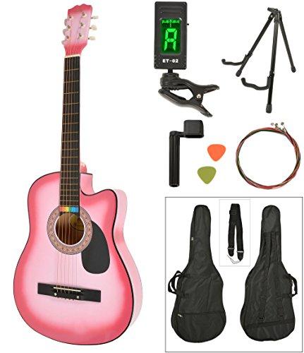 Akustik Western Gitarre Westerngitarre in Pink Sunburst mit Gitarrentasche, LCD Stimmgerät, Gitarrenständer und Zubehör
