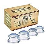 Anti Cellulite Cup,4 Stück Schröpfgläser set Schröpfgläser Silikon Schröpfen set Vacuum cup Schönheitstherapie-Massage(Transparent)