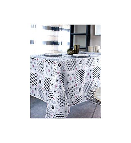 Home And Deco Carreaux Ciment - Nappe Anti-Taches Rect. 150x250 cm 100% Polyester Lavage Séparé à 30° et Pas de Repassage Possible. Décoration