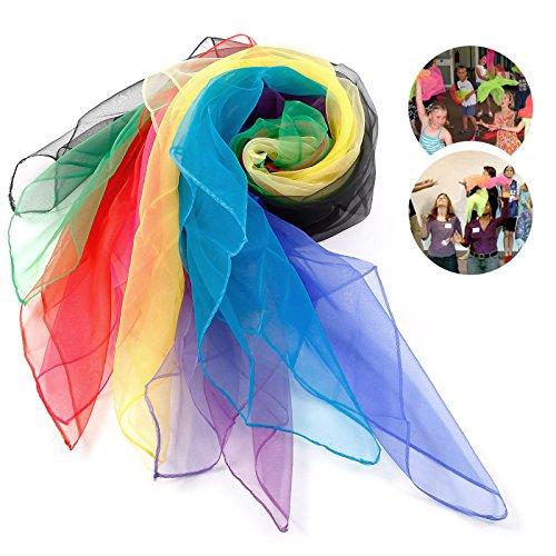 Sunshine D 12 x Tanz und Jongliertücher Gymnastiktücher Tanztücher Chiffon 6 Farben Jonglier/Tanz Tücher mehrfarbige Schals zum Jonglieren, Tanzen, Spielen. Viel Spaß damit