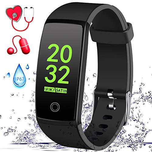 "MSDJK Fitness Armband mit Pulsmesser Blutdruckmessgerät,0.96"" HD Farbdisplay Smart Activity Tracker ,Wasserdicht IP67 Fitness Tracker Schrittzähler Uhr mit 14 Trainingsmodi Vibrationsalarm Anruf SMS Beachten mit iOS/Android Handy(Schwarz)"