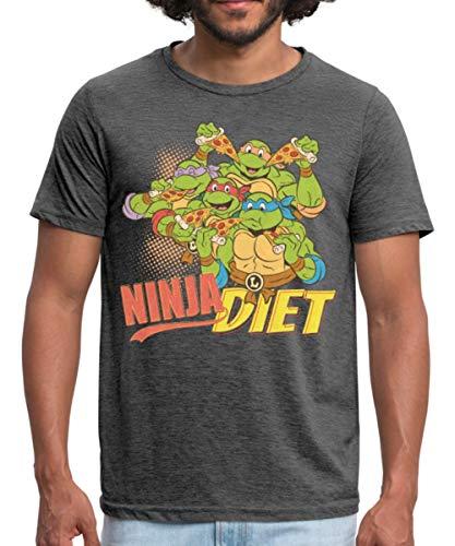Spreadshirt TMNT Turtles Ninja Diet Pizza Männer Polycotton T-Shirt, XXL, Dunkelgrau meliert