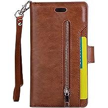 Sunny&Baby Flip caso para el iPhone 7 de moda de moda cartera Shell bolsa 9 ranuras de tarjeta de cuero PU cubierta de cuero con cremallera Lanyard Kickstand Antideslizante ( Color : Brown )