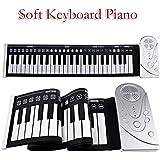 HEALLILY Soft Keyboard Piano 49 Keys Roll Up Piano Portatile Soft Roll Up Piano (Bianco)