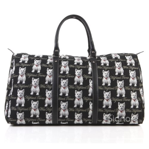 Signare grand fourre-tout bagage weekender en toile tapisserie mode femme Westie