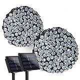 lederTEK Solar Lichterkette Weihnachten, 22m, 200er LED, 8 Modi, 2 Stück, Wasserdichte Weihnachtsbeleuchtung mit Lichtsensor, Weihnachtsdeko für Party, Haus, Außen&Innen (Weiß)