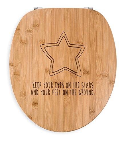 Preisvergleich Produktbild Mr. & Mrs. Panda WC Sitz Stern - 100% handmade aus Bambus - Sterntaler, Stern, Sternchen, Star, Himmel, Abendhimmel, Mond WC Sitz, Klobrille, Toilettensitz, Klodeckel Sterntaler, Stern, Sternchen, Star, Himmel, Abendhimmel, Mond