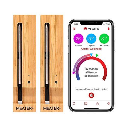 MEATER+ 2 Einheiten Bundle - Sparen Sie €20   50m Lange Reichweite Kabelloses Fleisch-Thermometer fuer Ofen Grill Küche BBQ Smoker Rotisserie mit Bluetooth und WiFi Digital Connectivity