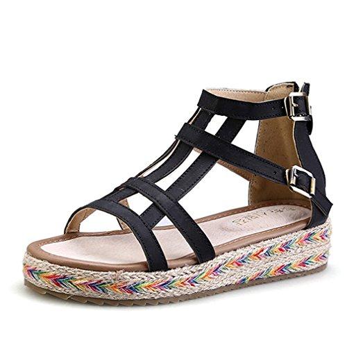 Damen Moderne Roman Sandalen Knöchelriemen Dick Sohle Anti-Rutsch Leichtgewicht Antmunsaktive Sommer Schuhe Schwarz
