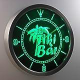 nc0385-g The Tiki Bar Palm Tree Beer Neon Sign LED Wall Clock Uhr Leuchtuhr/ Leuchtende Wanduhr