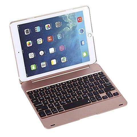 Housse avec Clavier LESHP Étui pour Clavier Boîtier Smart Folio Slim Bluetooth Clavier Housse de Protection Automatique Travail pour iPad Pro 9.7 et iPad Air 2