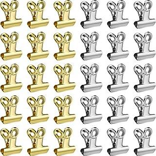 100 Stücke Metall Clips Scharnier Clips für Papier Organisatoren, Foto Wand Dekoration, Haus und Büro Dekoration, 0,87 Zoll (Gold und Silber)