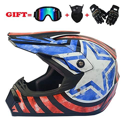 LCCYJ Erwachsenen Motorrad Geländewagen Helm für Männer Damen Sicherheit Schutz mit Handschuhe und Schutzbrille Maske,F,S -