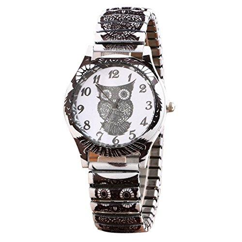 Uhren Damen Armbanduhr Mode Frauen Mädchen Analog Quarz Eule Anhänger Damen Kleid Armband Uhren Mode Uhrenarmband,ABsoar (B Weiß)