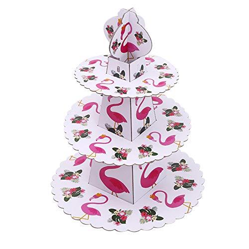 MSYOU 3-stöckiger Cupcake-Ständer mit Flamingo-Muster, rund, gestapelt, für Hochzeiten, Geburtstag, Party, Rosa - Prinzessin Servierplatten Servierplatte