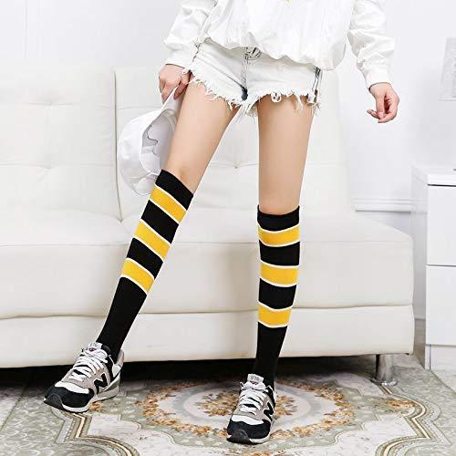 calzini in cotone per la casa, l'europa e gli stati uniti, calzini per equitazione, sport, corsa, maratona, sopra il ginocchio, calze a righe, calzini per bambine