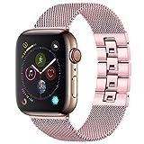 Wepro Compatible con Apple Watch Cinturino 38mm 40mm, Milanese Mesh Loop Ajustable Pulsera de Acero Inoxidable Repuesto con Conector de Extracción Manual para iwatch Series 4/3/2/1 Oro Rosa