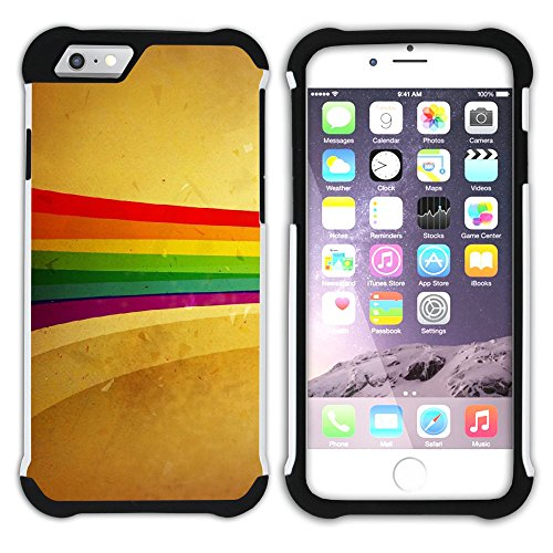 Graphic4You Regenbogen Farben Hart + Weiche Kratzfeste Hülle Case Schale Tasche Schutzhülle für Apple iPhone 6 Plus / 6S Plus Design #3
