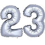 DekoRex® Folienballon Zahlenballon Luftballon Geburtstag Deko 80cm Zahl Silber 23