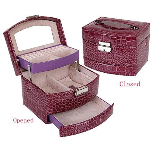 Étui cosmétique HWF Boîte à Bijoux Boîte de Rangement Boîte à cosmétiques Cuir Trois Couches Organisateur (Couleur : A)