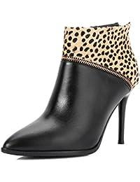 Nine Seven Cuero Moda Puntiagudos Botines Leopardo de Tacón de Aguja con Cremallera de Vestir para Mujer