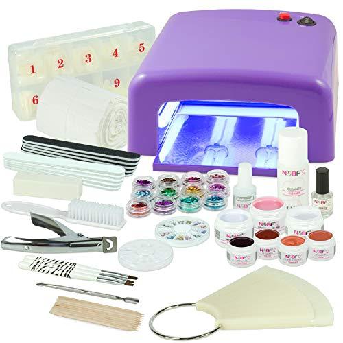 UV Gel Nagelstudio Starter Set - optimaler Einstieg in das eigene Nageldesign mit dem Nagelset dank viel Nailart, UV Lampe und Farbgel Set Fallen Leaves (lila)