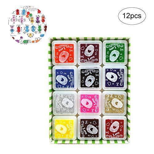 12 Farben-Tinten-Auflage Briefmarken Diy Fingerabdruck Stempelkissen für Stempel Scrapbooking Karte, die Regenbogen-Craft Tinten-Auflage für Kinder