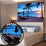 Twilight atardecer en la playa rodeado de palmeras y arena fotomural de XL póster decoración de la pared by GREAT ART (140 x 100 cm)
