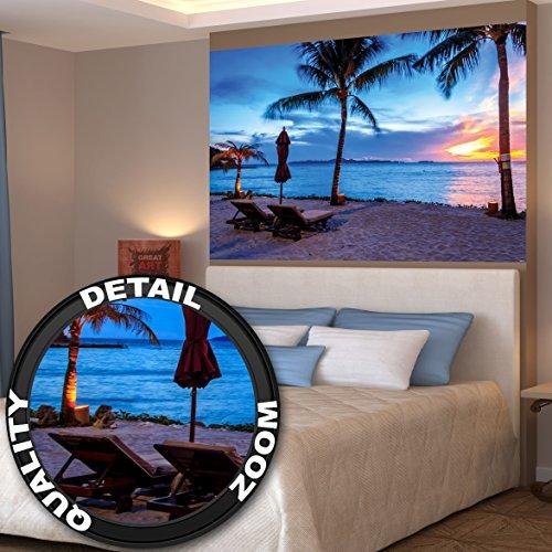 Twilight atardecer en la playa rodeado de palmeras y arena fotomural de XL póster decoración de la pared by GREAT ART (140 x 100 cm)