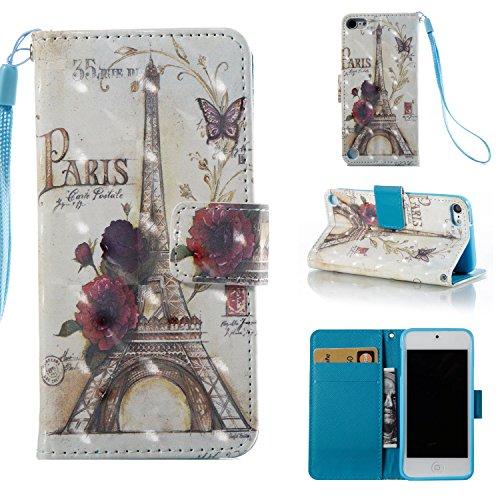 Dteck Schutzhülle für iPod Touch 5/6 (PU-Leder) mit Standfunktion, Magnetverschluss, Kartenfächer, Klapp-Cover für Apple iPod Touch 5. 6. Generation 10,2 cm, 00 Paris Tower 00 Ipod