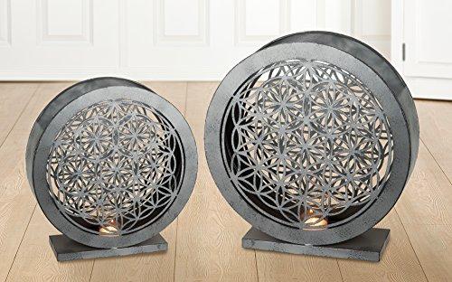 GILDE 1 x Windlicht Lebensblume Metall/Glas antik grau Höhe 45 cm, Feng Shui, Beleuchtung, Tischdeko