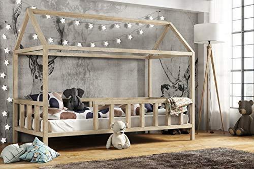 Hausbett 90x200 cm | Kinderbett Kinderhaus mit Rausfallschutz Sicherheitsbarrieren Natur Haus Holz Bett - Made in Germany (90x200)