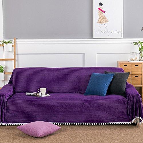 Plüsch einfarbig schonbezug sofa,Stuhl und loveseats sofa cover all-inclusive-voll abgedeckt sofa handtuch einfache moderne vier-jahreszeiten-anti-rutsch-staubdicht couch-Lila 200x260cm(79x102inch) (Schonbezug Sofa Lila)