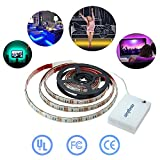 Simfonio Led Strip Lights Battery Operated Led Lights 1M 5V 30Leds Multicolored Waterproof 5050 SMD RGB LED Flexible Strip Lighting Full Kit with Mini Controller for Home, Kitchen,Cabinet ,TV ,PC,Desk Lighting Decoration